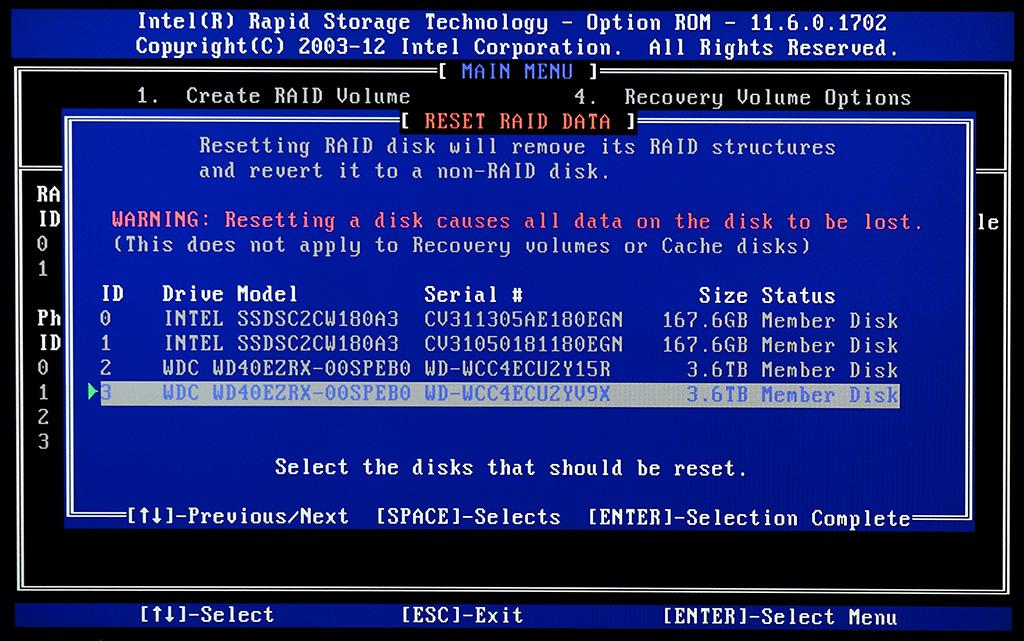 Reset RAID data