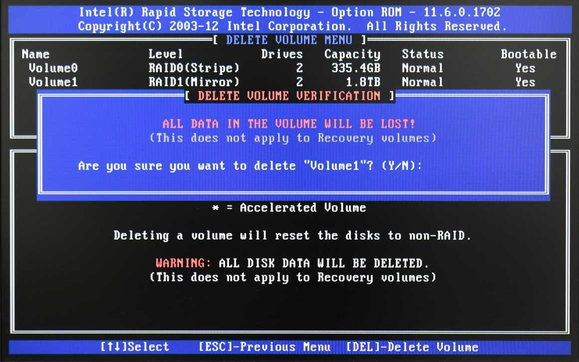 RAID Delete Warnin
